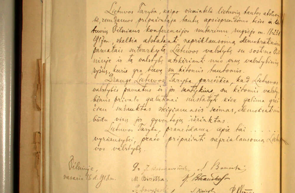 Leedu professor leidis üles oma kodumaa ammu kadunuks peetud iseseisvusdeklaratsiooni