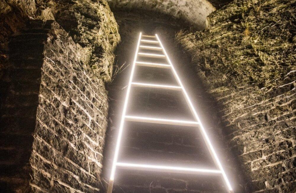 Eesti Kunstiakadeemia tudengite valgusinstallatsioon Patkuli treppidel