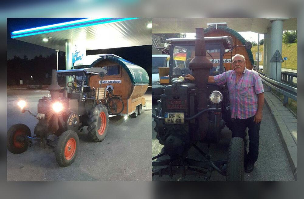 VIDEO | Saksa fänn sõidab jalgpalli MM-ile sada aastat vana traktoriga