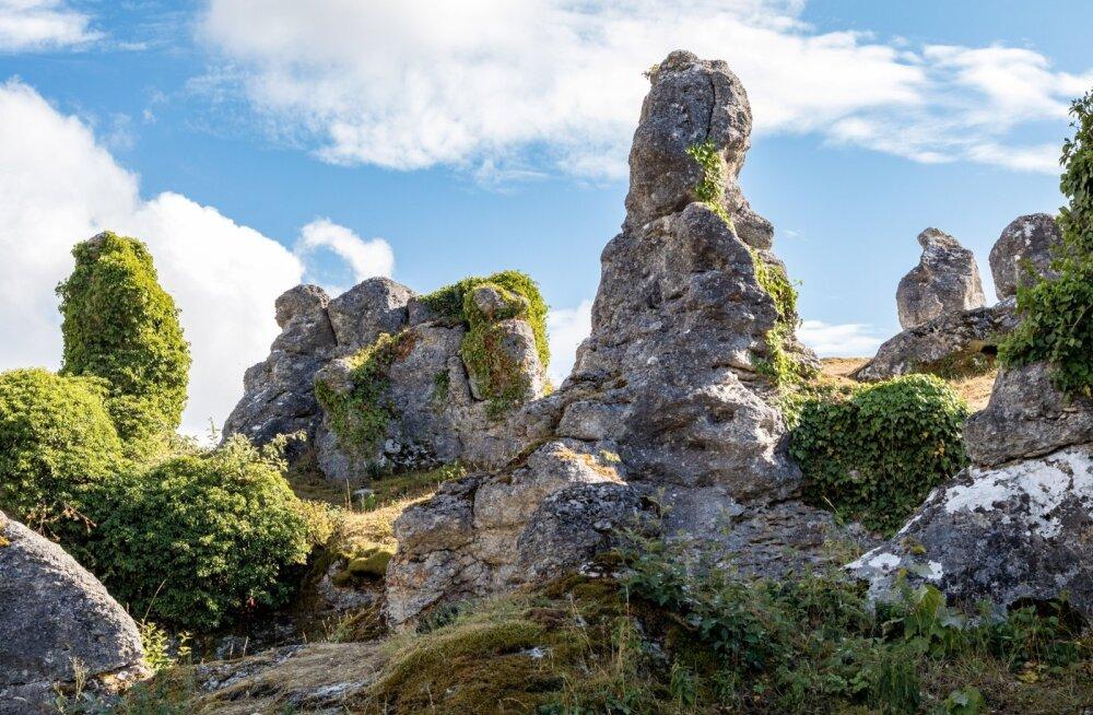 GOTLANDI IME: Looduse poolt vormitud lubjakivist sambad ehk raukarid meenutavad väga lagunenud kindlust.