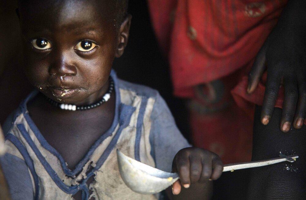 Lõuna-Sudaani mudilane maitseb Norra toiduabina saadud maisi.