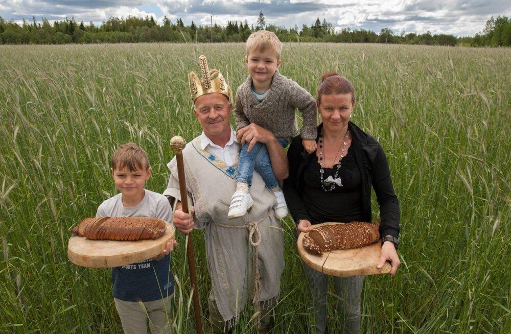 """""""Hoiame elus rukkikultuuri ja äratame lastes huvi ning austust leivavilja vastu,"""" teatab rukkikuningas Hans Kruusamägi. Pildil koos abikaasa Marise ja poegade Pärt Pärteli ning Albertiga."""