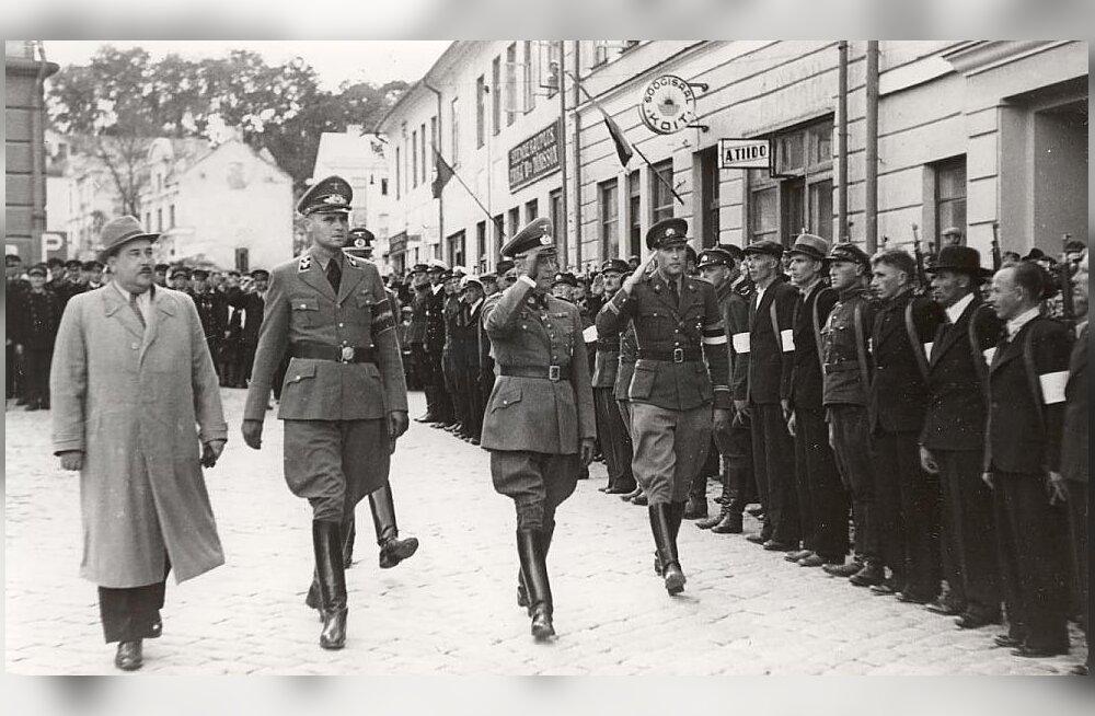 Eesti Omakaitse juht Hjalmar Mäe, Tartu piirkonnakomissar (Kreisleiter) Kurt Meenen, kindralleitnant Karl von Tiedemann