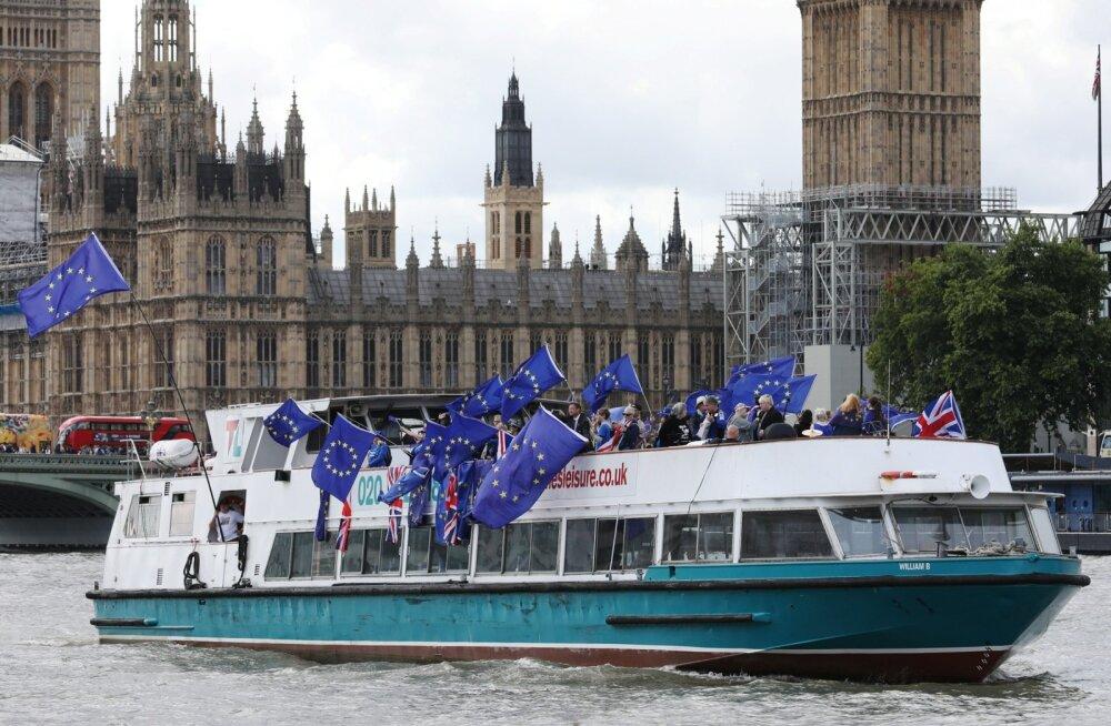 Lootus sureb viimasena. EL-i jäämist pooldavad Briti aktivistid tiirutasid augusti keskel Londoni parlamendihoone juures.