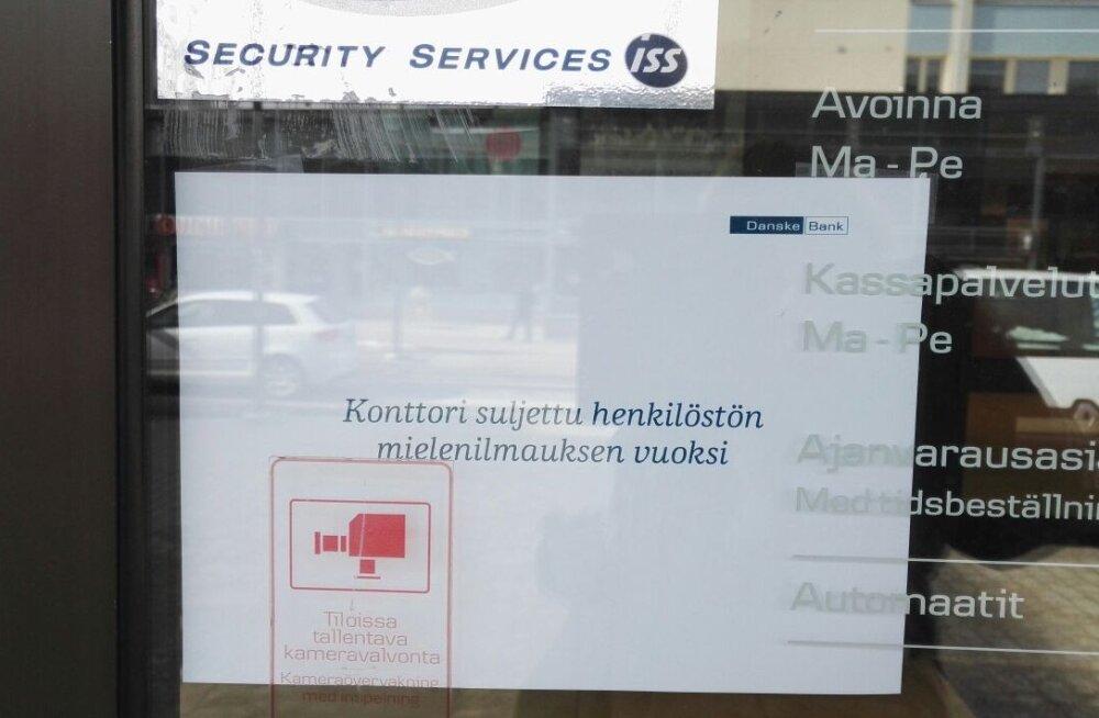 Danske töötajad marssisid Soomes pangakontoritest minema