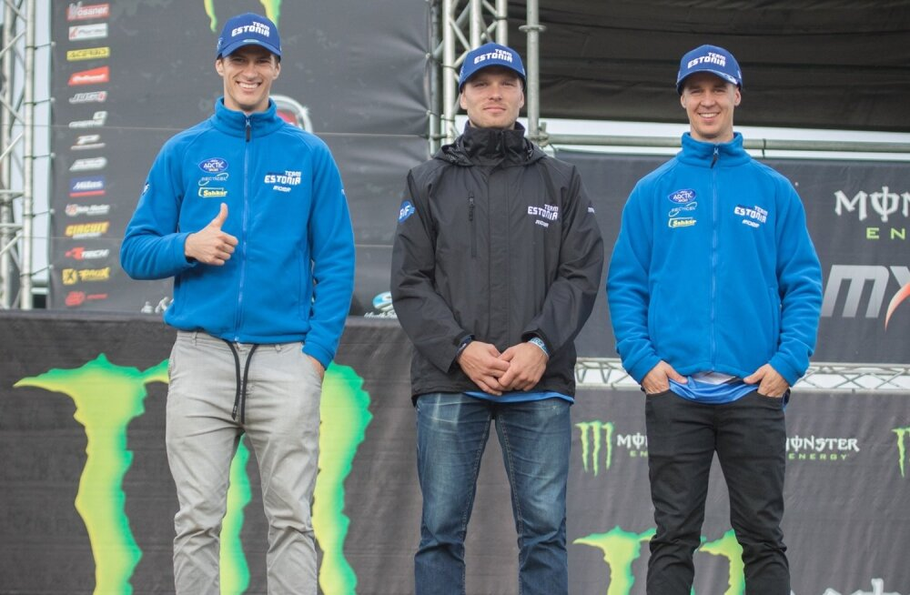 Rahvuste krossi koondis (vasakult) Priit Rätsep, Tanel Leok ja Harri Kullas