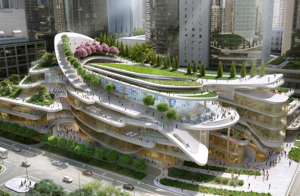 Pekingi linnakeskuses kulgevad kõnniteed kelgurajana hoone katusel