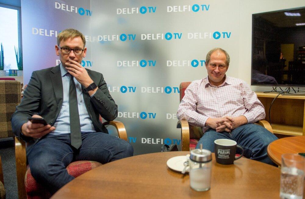Ametiühingute keskliidu juht Peep Peterson ja tööandjate keskliidu juht Toomas Tamsar