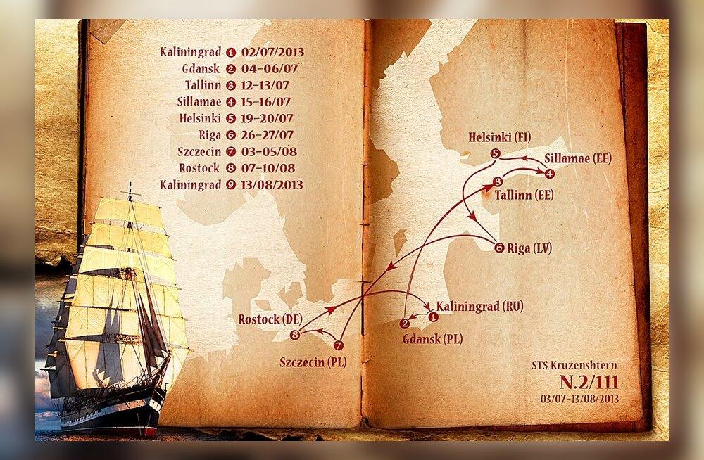 """Марштрут и график посещения городов барком """"Крузенштерн"""""""