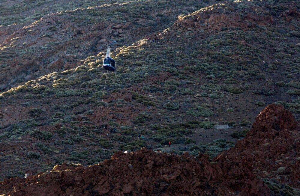 Tenerifel Teide vulkaani juures köisraudteel juhtus õnnetus, 250 inimest tuli mäelt ja õhust tagasi tuua