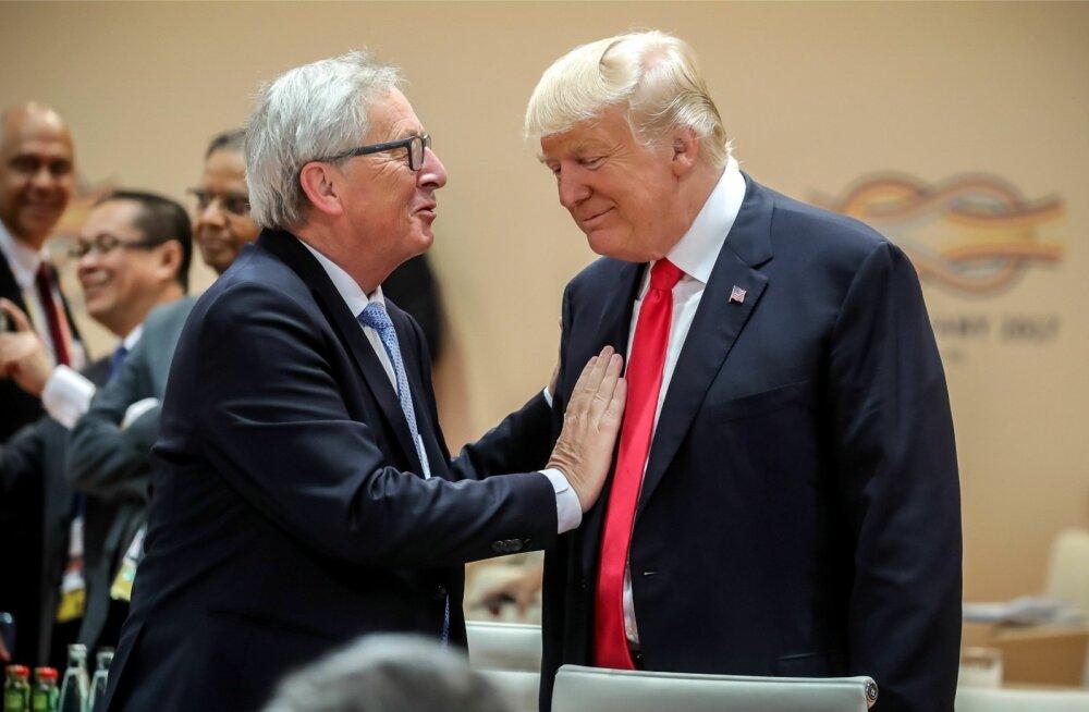 Jean-Claude Junckerile (vasakul) ei meeldi mõte, et Donald Trump saab õiguse Euroopa energiafirmasid Vene-sidemete eest trahvida.