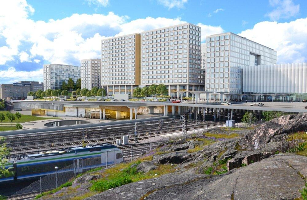 Tripla keskuse eskiisjoonis: paremalt alustades esimene blokk on rongijaam/ühistranspordikeskus; keskel hotell ja büroopinnad; vasakul elurajoon kahe 12-korruselise kortermajaga. Kõiki kolme blokki läbib Tripla ostukeskus.