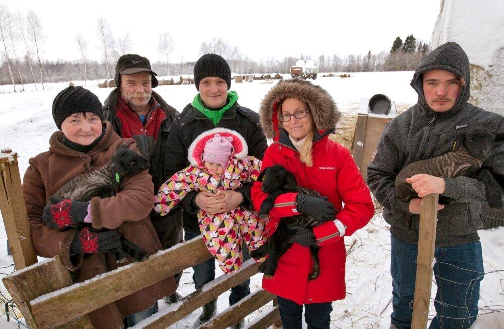 """""""Eks nüüd tuleb veel rohkem tööd teha,"""" püüab Tõrvaaugu talupere ka vähenenud toetustega pinnal püsida. Pildil on Jüri ja Anette Kuusik, pojad Janno ja Janek, Janeki elukaaslane Helene ning nende pisitütar Annabel."""