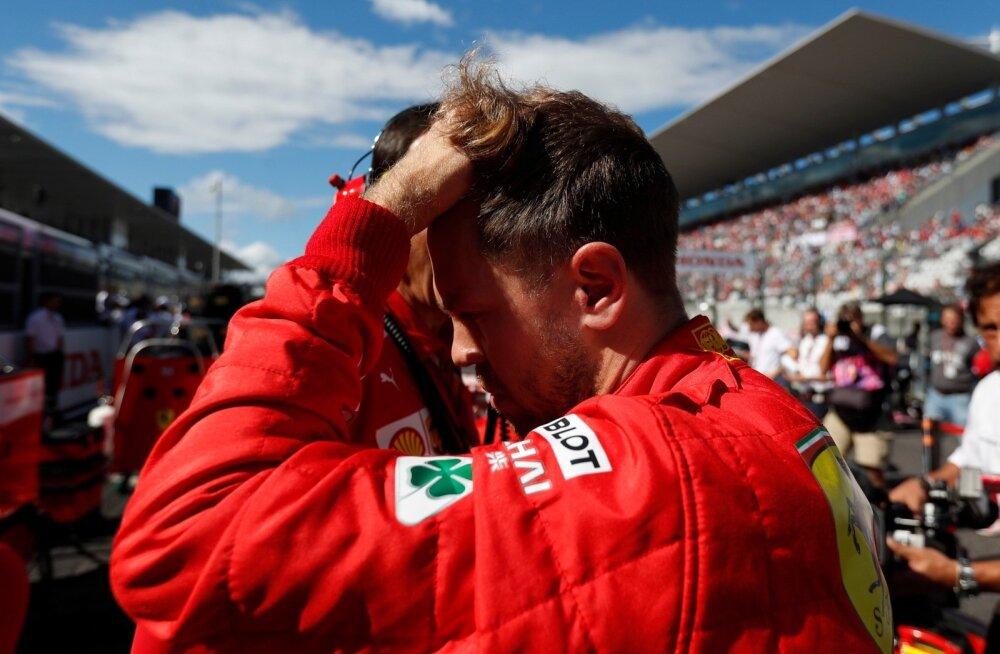 Ferrari sõitjal Sebastian Vettelil oli põhjust peast kinni hoida.