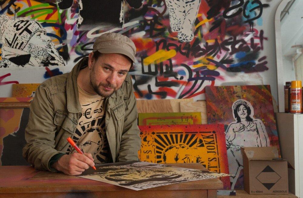 """Indrek Haas ehk Von Bomb hakkas tänavakunstiga katsetama kümmekond aastat tagasi ja nüüd on ta n-ö täiskohaga kunstnik, elatades end eri tellimustöödest ära. Tema viimane töö """"Ülemiste tüdruk"""" on Eesti suurim seinamaal."""