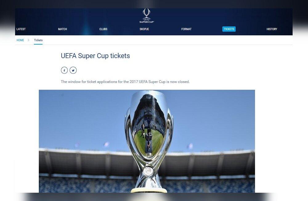 Kuidas soetada Tallinnas toimuva UEFA superkarikafinaali piletit?