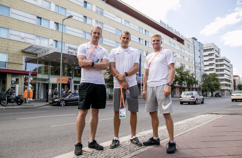 Kümnevõistelja Maicel Uibo (keskel) on selge medalinõudleja. Karl Robert Sauri (paremal) ja Karel Tilga võiksid olla samuti esikümne mehed.