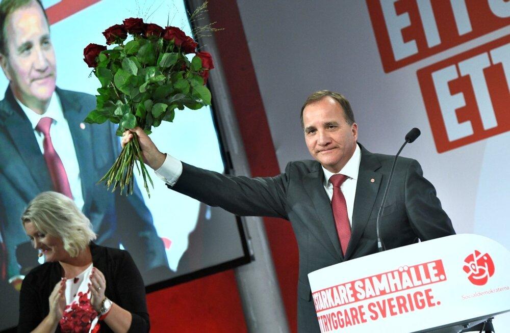 Sotsist peaminister Stefan Löfven võttis partei esikoha vastu üsna hapul ilmel.