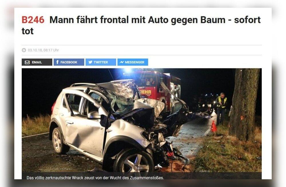 В Германии в ДТП попал автомобиль с эстонскими номерами. Водитель погиб