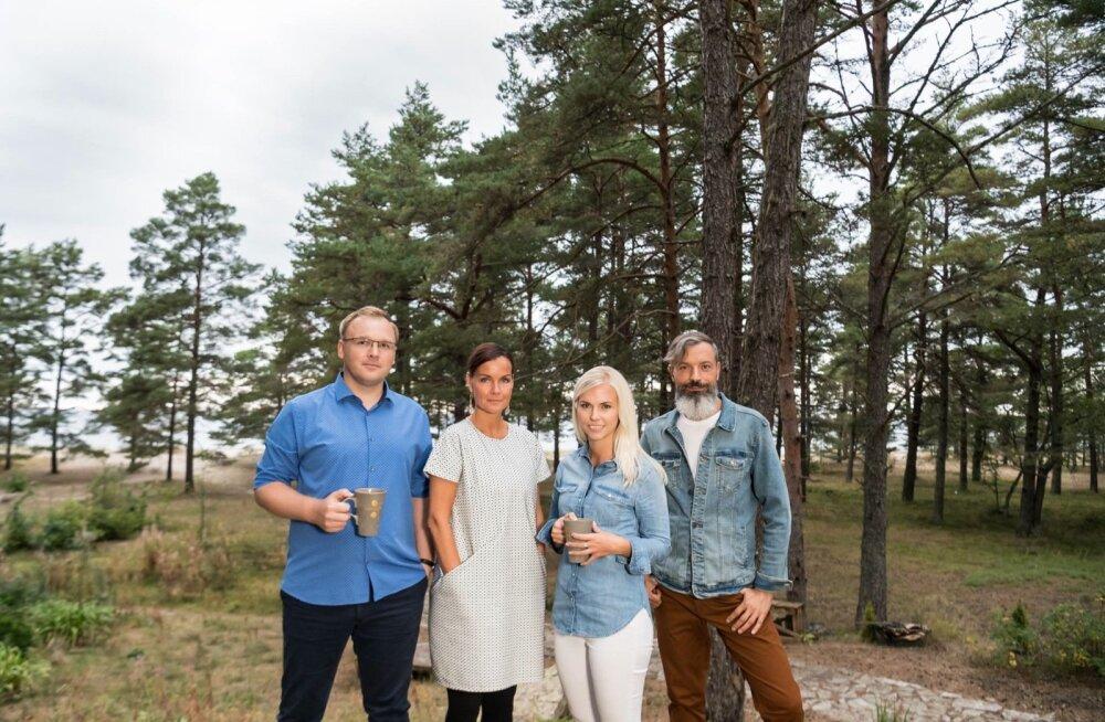 Terevisiooni saatejuhid Reimo Sildvee, Katrin Viirpalu, Liisu Lass ja Owe Petersell.