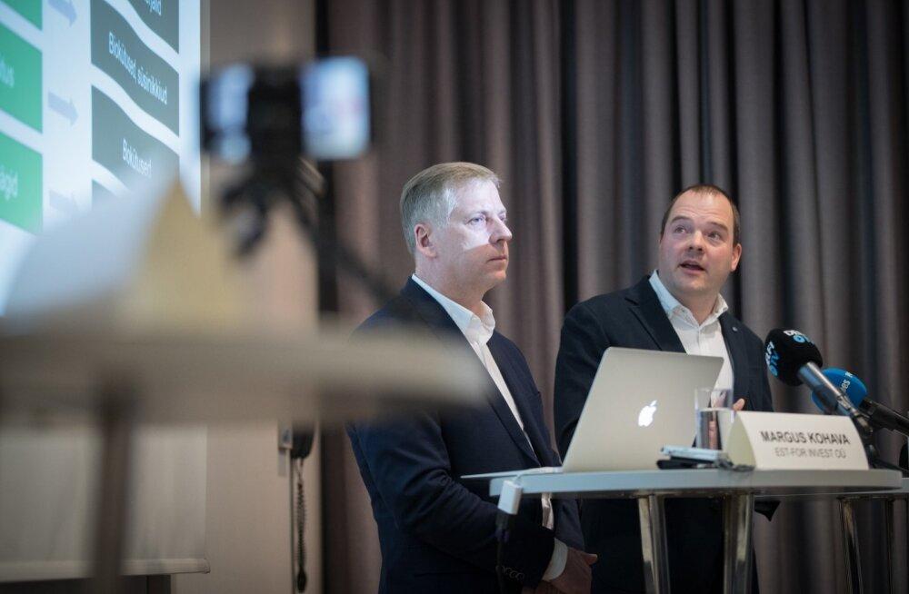 Est-For Investi juhatuse liikmed Margus Kohava (vasakul) ja Aadu Polli teatasid eile suurinvesteeringu plaanist, ent jätsid paljud üksikasjad ähmaseks.