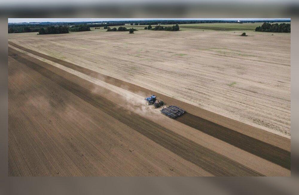 Traktor Sadala Agro põldudel kobestamas.