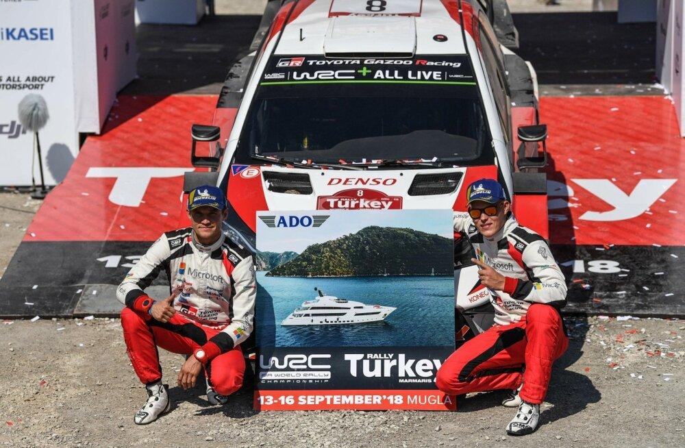Martin Järveoja ja Ott Tänak tähistamas Türgi ralli võitu.
