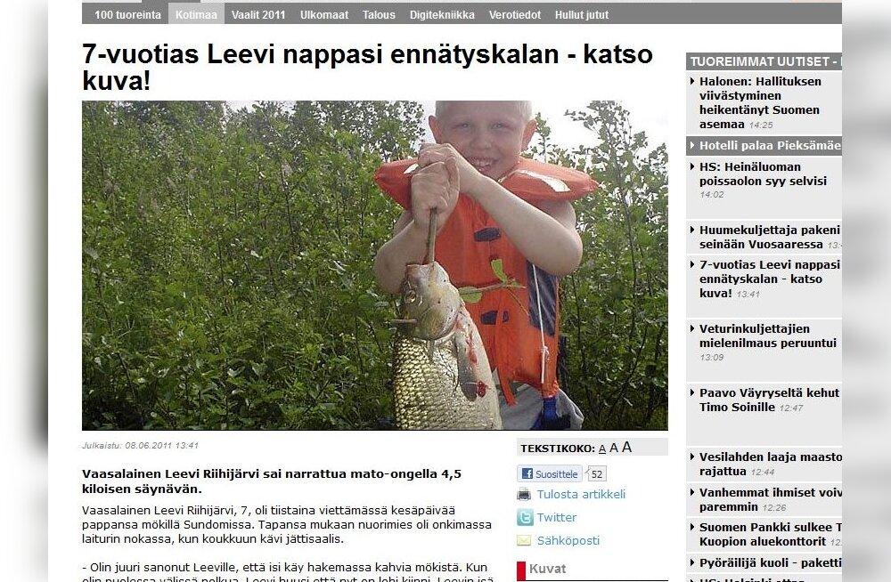 7-aastane Soome poiss sai õnge otsa ülisuure säina