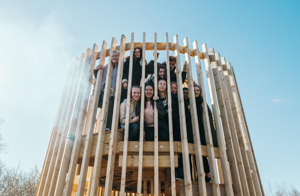 Студенты построили на болоте под Тарту наблюдательную вышку