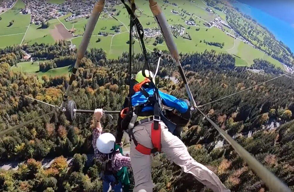 VIDEO: Šveitsi mägedes deltaplaaniga loodust nautida soovinud turisti sõit võttis kohe alguses äärmiselt hirmutava pöörde
