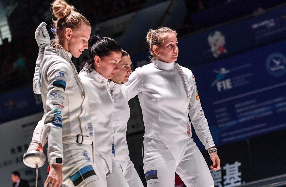 Eesti epeenaiskond tänavusel MM-il: Katrina Lehis (vasakult), Julia Beljajeva, Irina Embrich ja Kristina Kuusk.