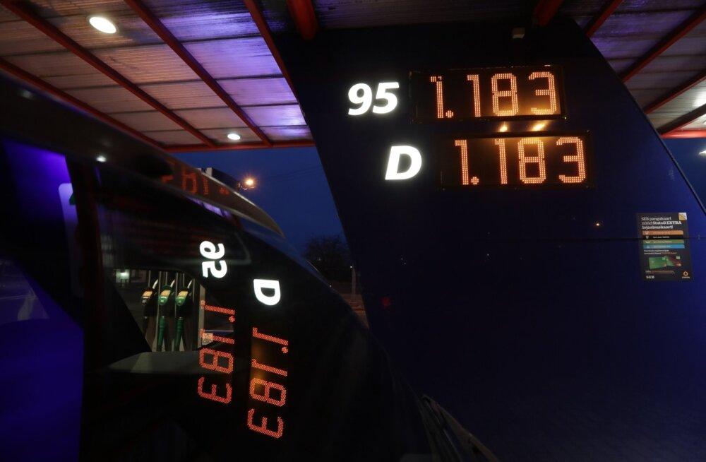 Mootirikütuste hinnad  tanklas 29.detsembril.