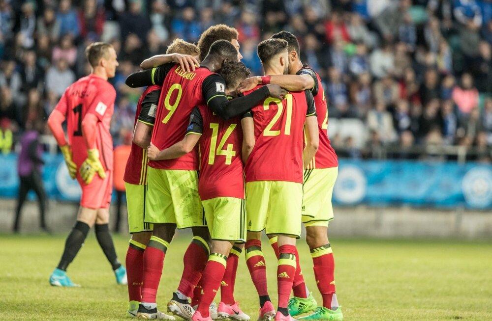 Eesti jalgpallikoondis kaotas 2018. aasta MM-valikmängu Lilleküla staadionil Belgiale 0:2. 31. minutil viis külalised juhtima Dries Mertens, 86. minutil suurendas edu Nacer Chadli. Avapoolaja lõpus punase kaardi saanud Artjom Dmitrijev jättis Sinisärgid p