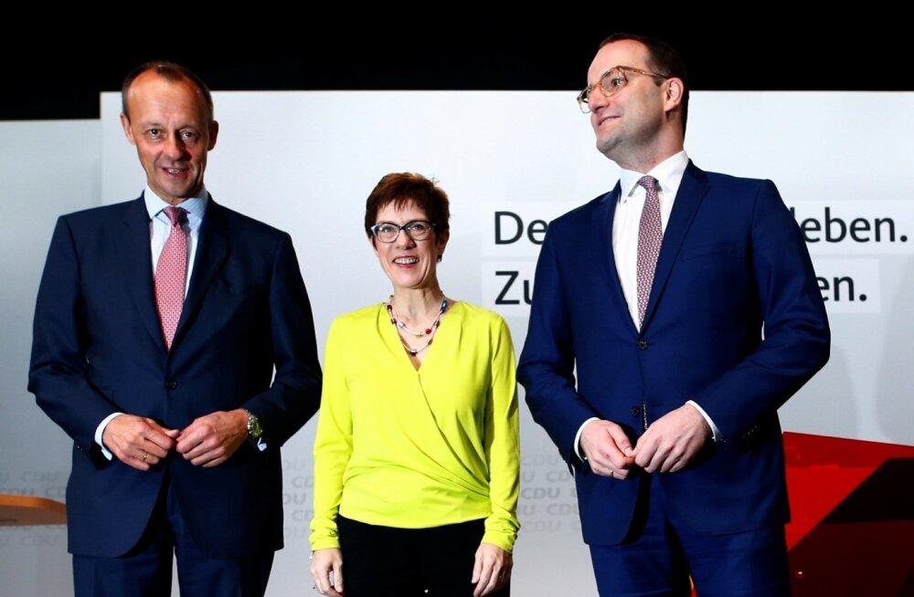 Järgmine Saksa liidukantsler selgub tõenäoliselt nende kolme hulgast: kümme aastat poliitikast eemal olnud Friedrich Merz (vasakul), CDU peasekretär Annegret Kramp-Karrenbauer ja praegune tervishoiuminister Jens Spahn. Mõlemad mehed on oma ligi kahe meetr