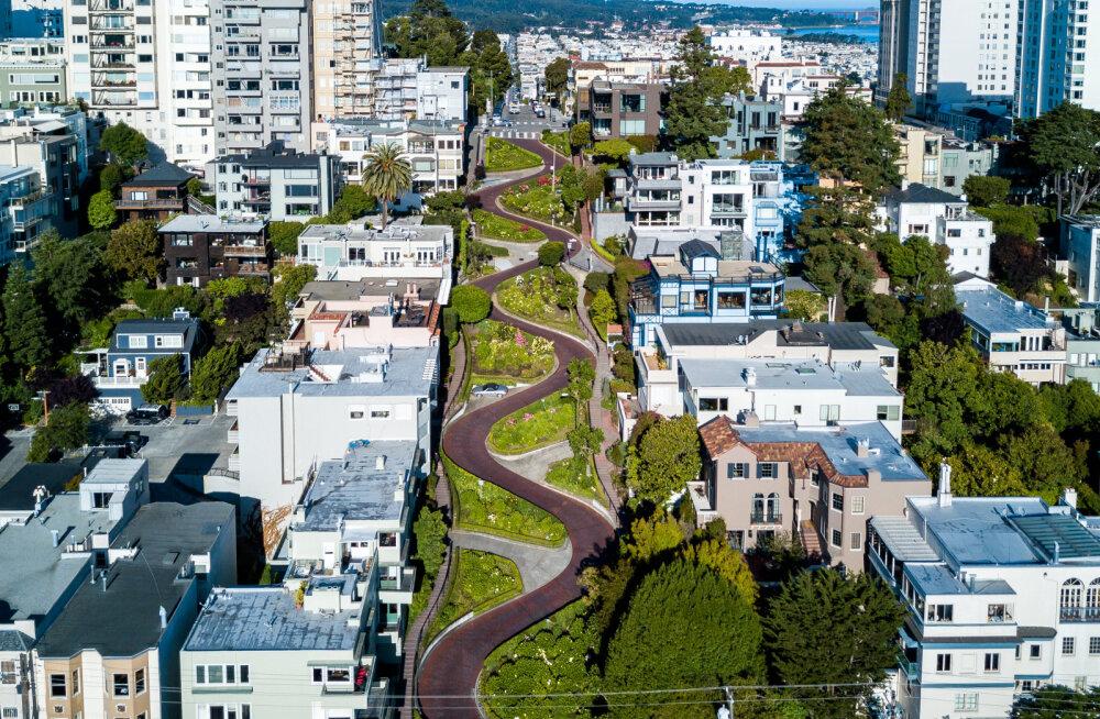 Põnev vaade | Järskude kurvidega kuulus Lombard Street San Franciscos