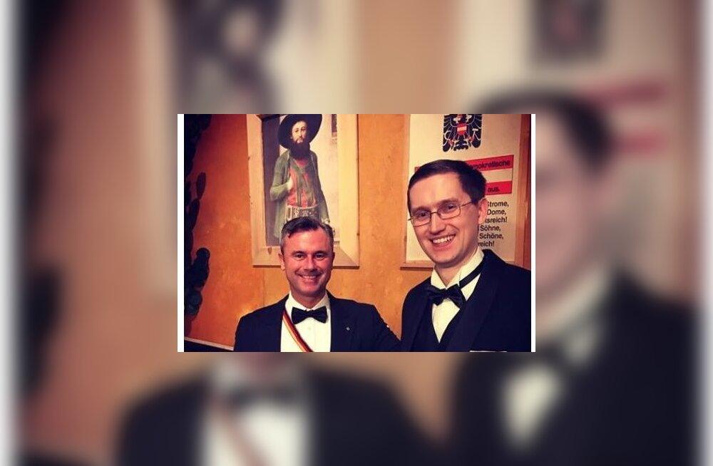 Jaak Madison Viinis akadeemikute ballil koos paremäärmuslike vaadetega Austria parlamendi kolmanda aseesimehe Norbert Hoferiga
