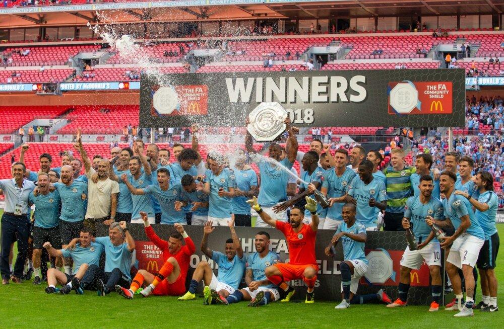 VIDEO   Manchester City võitis Agüero kahe värava toel hooaja esimese tiitli