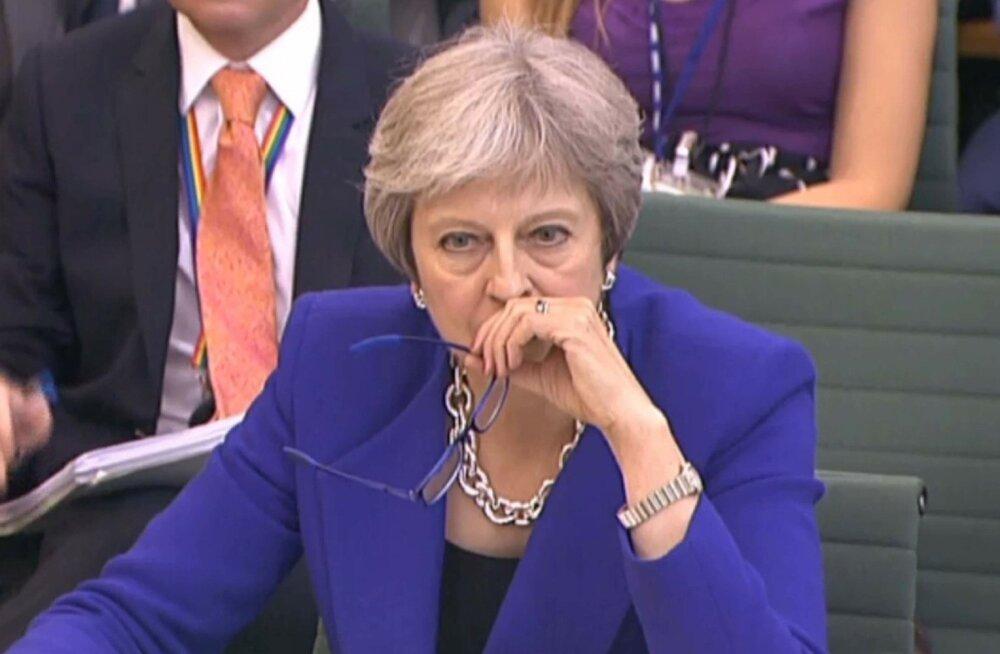 Peaminister Theresa May alamkojale Brexiti kohta tunnistusi andmas.