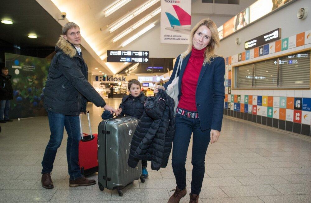 Kaja Kallase pere sai eile lennujaamas kokku, kui pereema nädalavahetuseks koju saabus.
