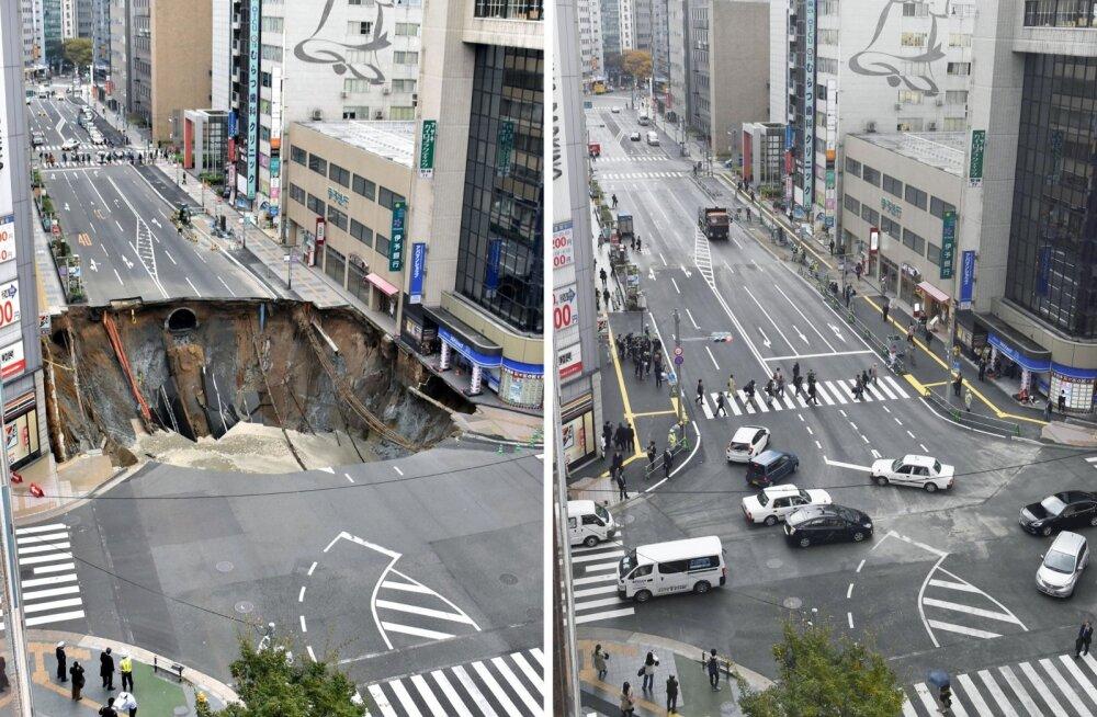Fukuoka neeluauk 8. novembril... ... ja sama koht täpselt nädal hiljem