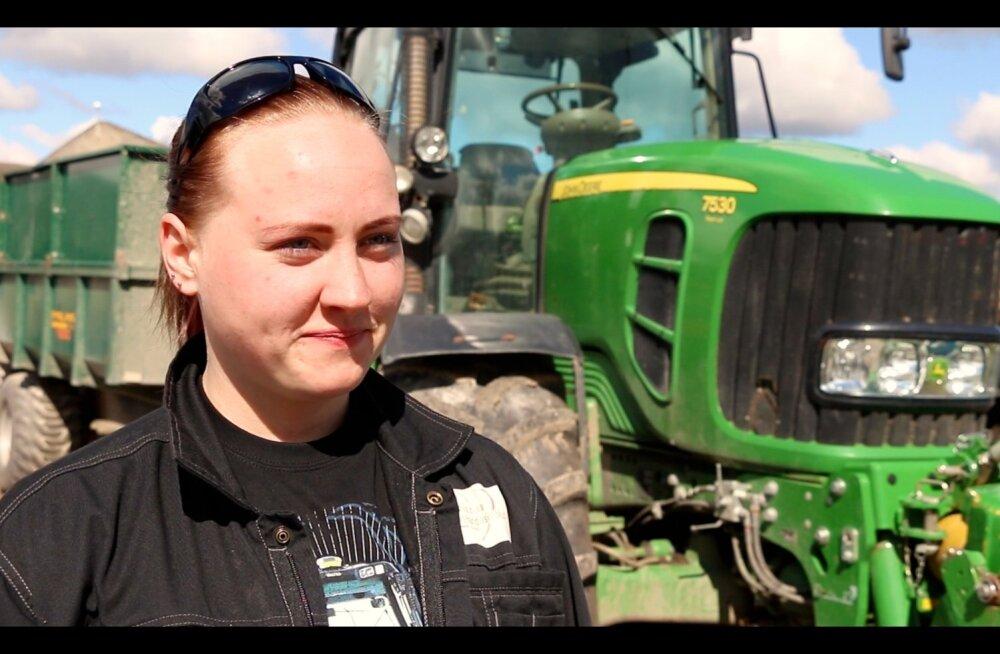 Parimale noorele taluperenaisele Dirgis Jõemaale meeldib traktoriga töötada.