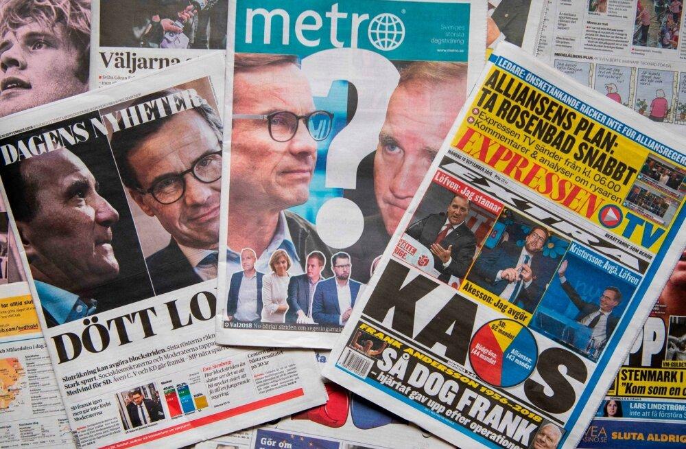 Rootsi ajalehtede esiküljed kõnelevad poliitikat tabanud kaosest ja teadmatusest.