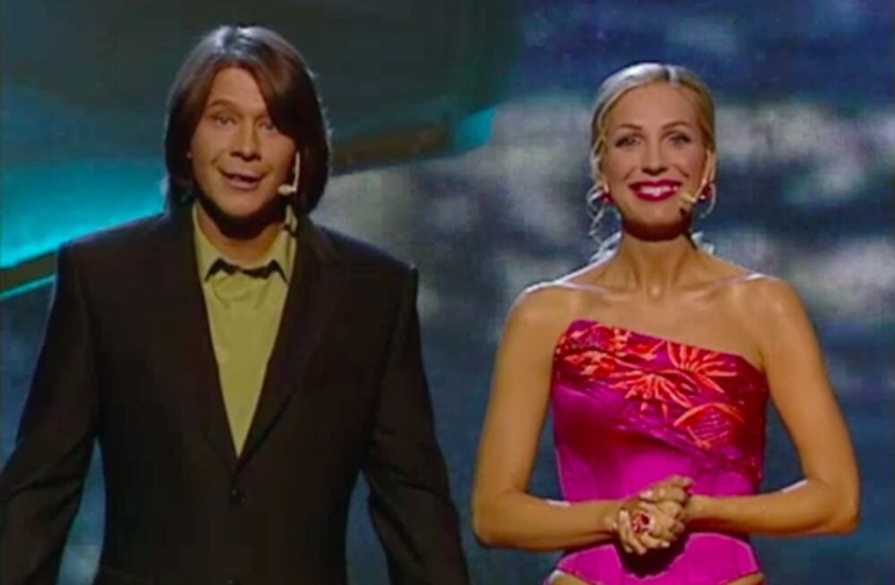 Marko Matvere ja Annely Peebo Eurovison 2002 õhtujuhtidena
