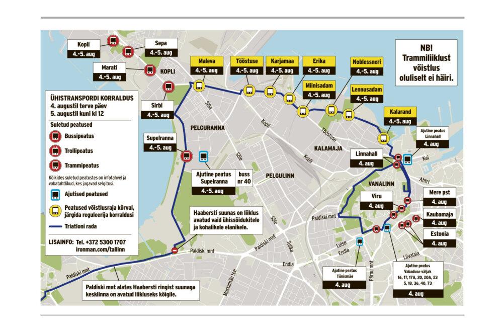 SUUR ÜLEVAADE   Alates tänasest ootavad pealinlasi suured liiklusmuudatused: stardib triatlonivõistlus Ironman!