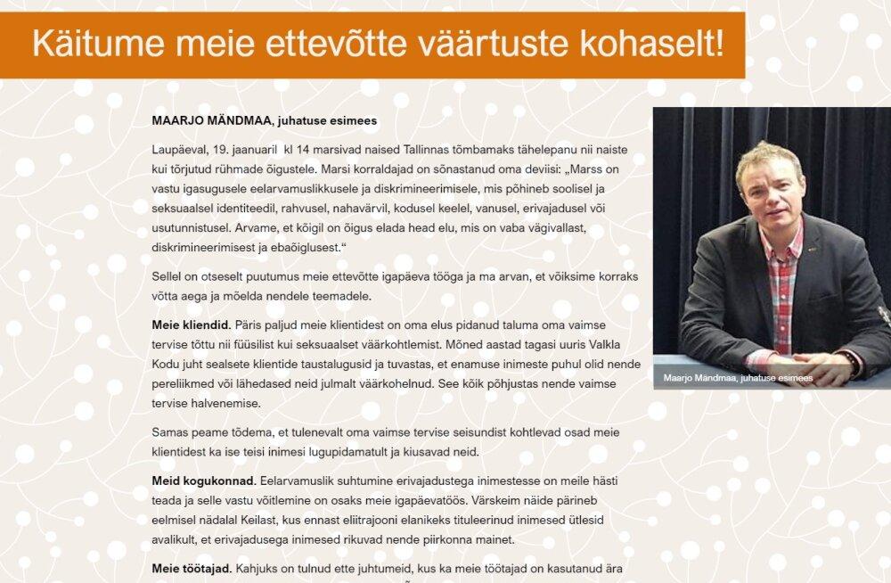 Riina Sikkut: töötajaid Naiste marsile kutsunud AS Hoolekandeteenuste juht väärib tunnustust. TÜ eetikakeskus peab pöördumist tasakaalustatuks