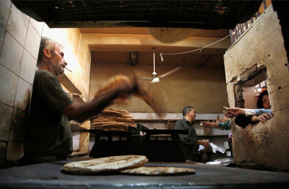Leivateoks hädatarviliku nisuga varustab Süüriat üha suuremates kogustes Krimm, millele kehtivad lääne sanktsioonid. Fotol Süüria pealinna Damascuse riiklik pagariäri