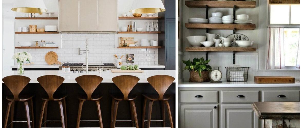 Praktilised köögid: miks valida kinniste köögikappide asemel avatud riiulid?