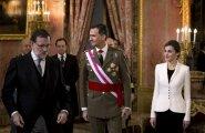 Peaminister Mariano Rajoy, kuningas Felipe VI ja kuninganna Letizia