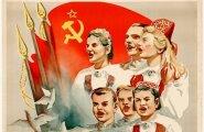 Selline oli üldlaulupeo plakat: rahvarõivad ja nõukogude sümbolid kõrvuti.