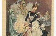 Maad mööda lohisevad kleidid. Ajakirja Puck 1900. aasta karikatuur arvab teadvat, kust naistele nakkus tuli.